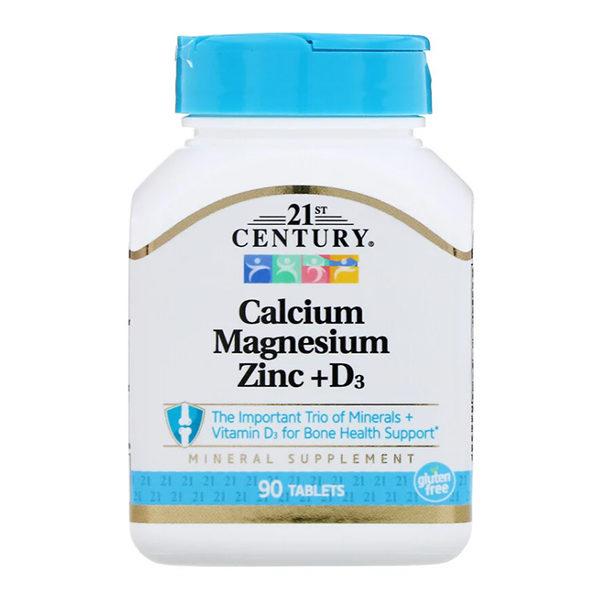 21st Century, Calcium Magnesium Zinc + D3,90 таблеток