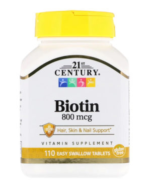 21st Century, Biotin, 800 mcg, 110 таблеток Easy Swallow