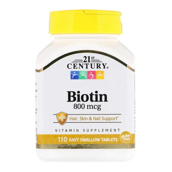 21st Century, Biotin, 800 mcg, 110 таблеток Easy Swallow