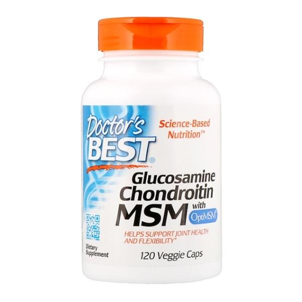 Doctor's Best, Глюкозамин, хондроитин и МСМ с OptiMSM, 120 растительных капсул