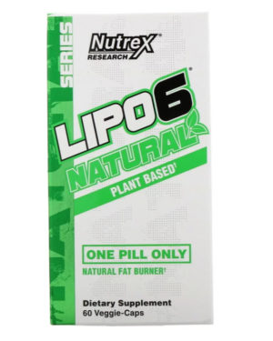 Nutrex Research, Natural Series, LIPO-6 Natural Fat Burner, Plant Based, 60 Veggie-Caps
