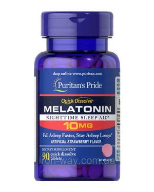 Puritan's Pride Quick Dissolve Melatonin 10mg Strawberry Flavor 90 tablets