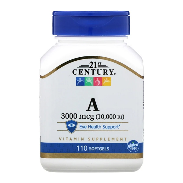 21st Century, Vitamin A, 3,000 mcg (10,000 IU), 110 гелевых капсул