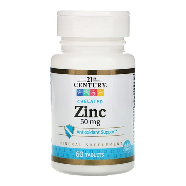 21st Century, Zinc, Chelated, 50 mg, 60 таблеток