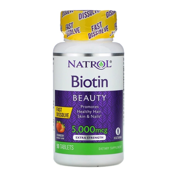 Natrol, Biotin, Strawberry, 5,000 mcg, 90 Tablets
