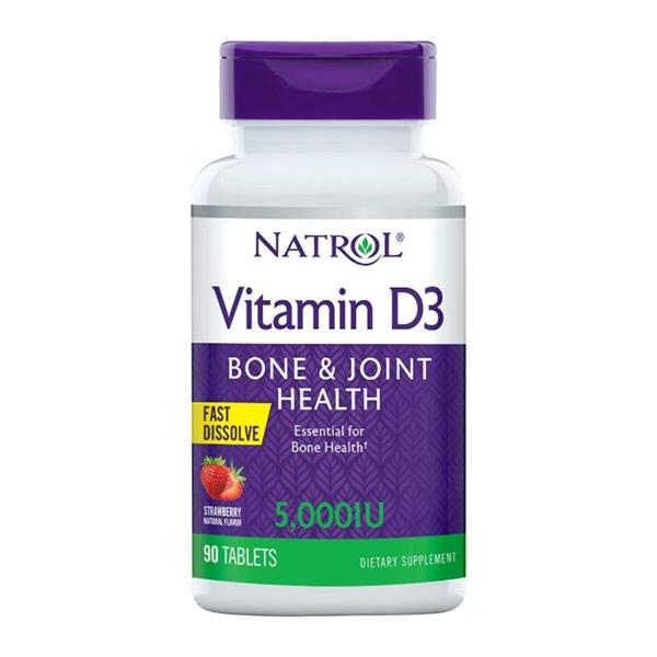 Natrol Vitamin D3 Fast Dissolve 5000 IU Strawberry, 90 tablets
