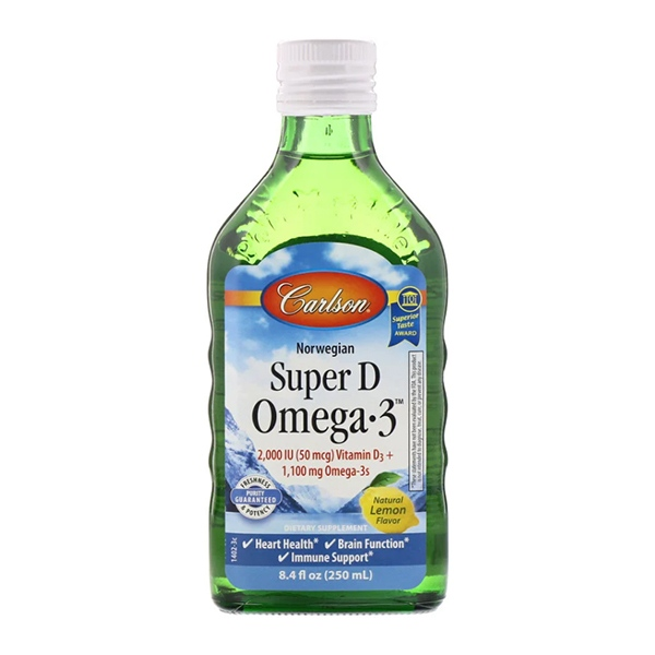 Carlson Labs, Norwegian, Super D Omega-3, Natural Lemon Flavor, 8.4 fl oz (250 ml)