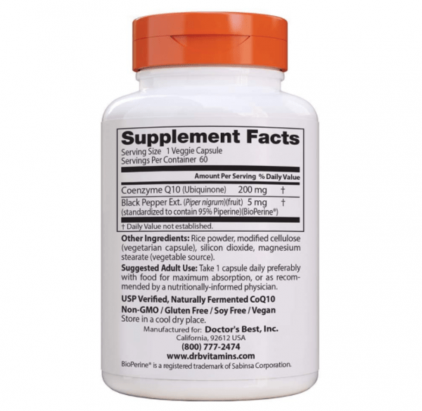 Doctor's Best, High Absorption CoQ10 with BioPerine, 200 mg, 60 Veggie Caps