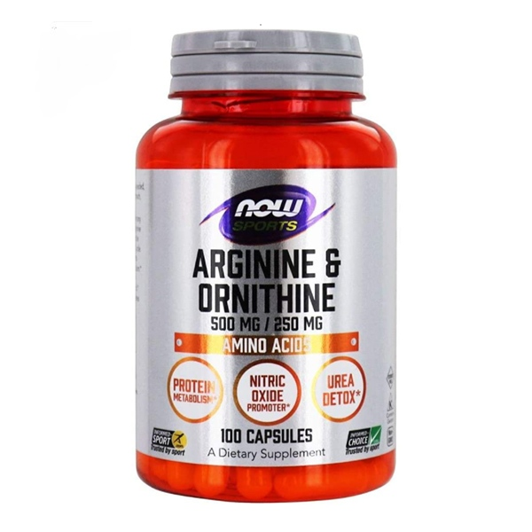 Now Foods, Sports, Arginine & Ornithine, 500 mg /250 mg, 100 Capsules