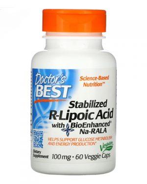 Doctor's Best, Stabilized R-Lipoic Acid with BioEnhanced Na-RALA, 100 mg, 60 Veggie Caps