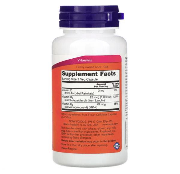 Now Foods, Vitamin D-3 & K-2, 45mcg (1,000 IU), 120 Veg Capsules