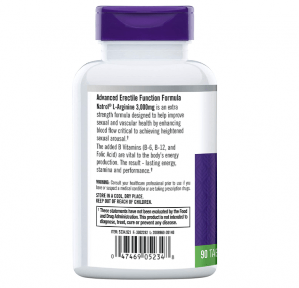 Natrol L-Arginine 3,000 mg 90 Tablets