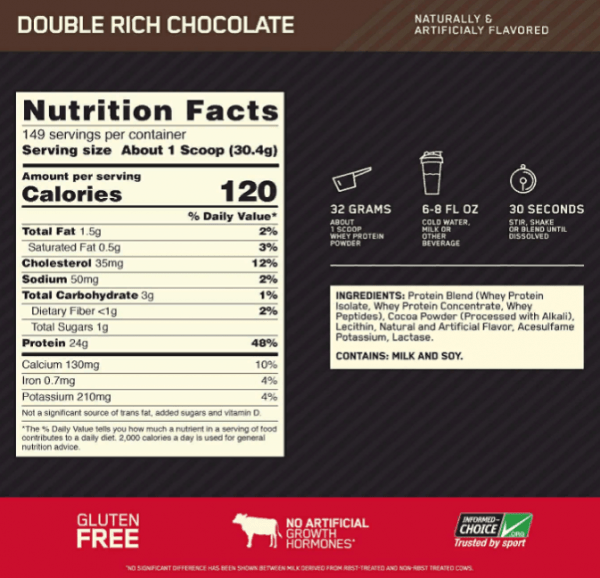 Gold Standard 100 % Whey DBL Rich Chocolate 10 LB